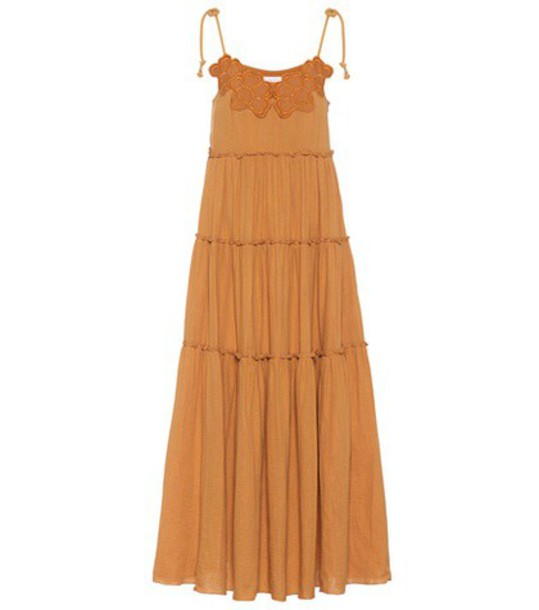 See By Chloé Embroidered cotton maxi dress in yellow