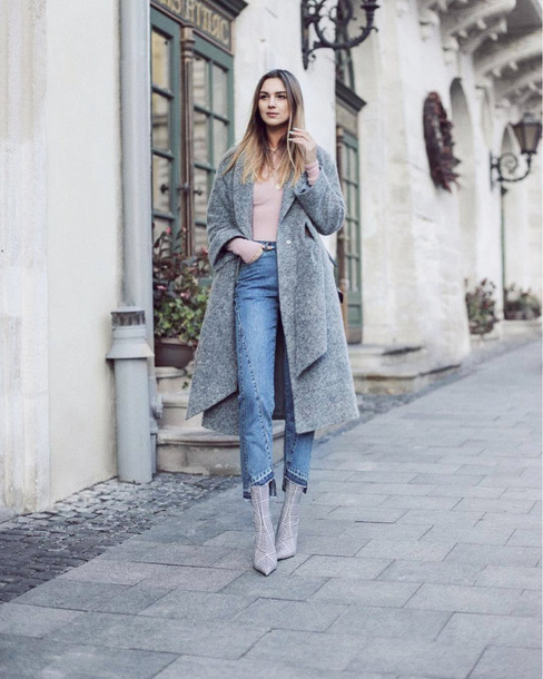 shoes boots grey boots pointed toe denim jeans blue jeans coat grey coat