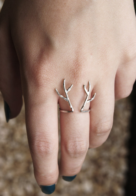 Sterling silver antler ring by aetherdesign on etsy