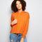 Orange drawstring cropped hoodie