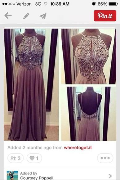 dress prom dress long low back long dress light pink purple beaded cut out back brown halter brown halter