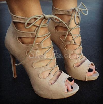 Suede Peep Toe Cut-Outs Lace-Up Bowtie HIgh Heel Sandals