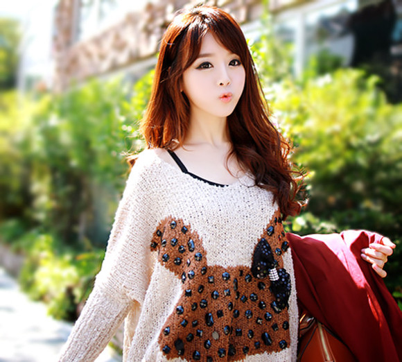 bows sweater kfashion bunny oversized sweater beige