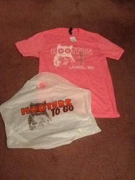 owl t-shirt orange white hooters Pink pink Hooterswings hootersshirt hooterdgirl hootersgirls colorpink Colorbrown Lurelmd maryland lurel
