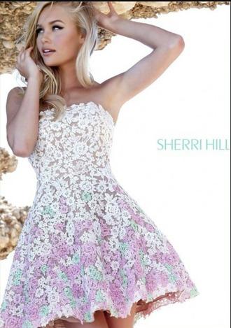 dress white lace pink lace mint lace cute cute dress nude strapless strapless dress short dress