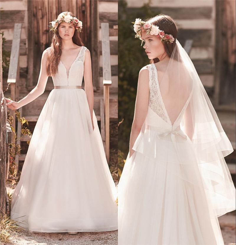 2016 mikaella modest backless wedding dresses 2063 a line for Vintage backless wedding dresses