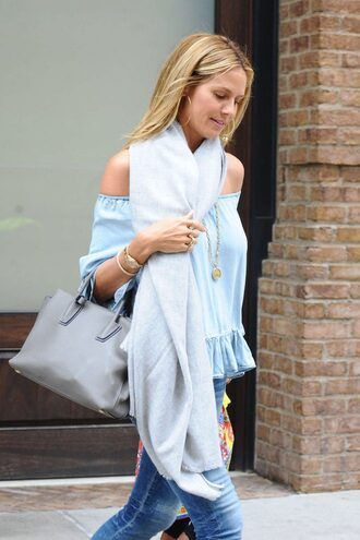 blouse heidi klum jeans off the shoulder purse ruffled top