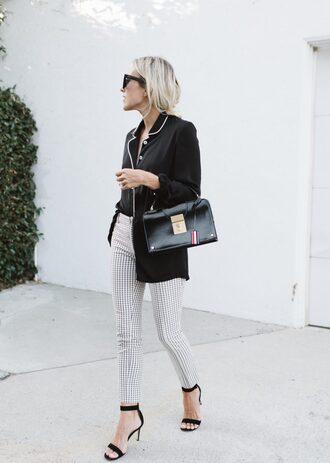 pants tumblr checkered pants checkered sandals sandal heels high heel sandals black bag bag shirt black shirt sunglasses shoes
