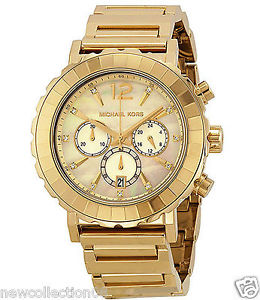 Auth Michael Kors MK5789 Lillie Gold Tone Chrono Glitz Dial MOP Watch New | eBay