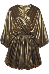 dress,wrap dress,gold