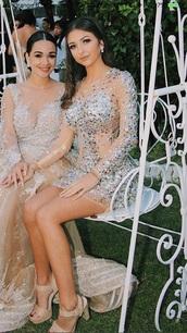 dress,diamonds,see through,short dress,party dress,white