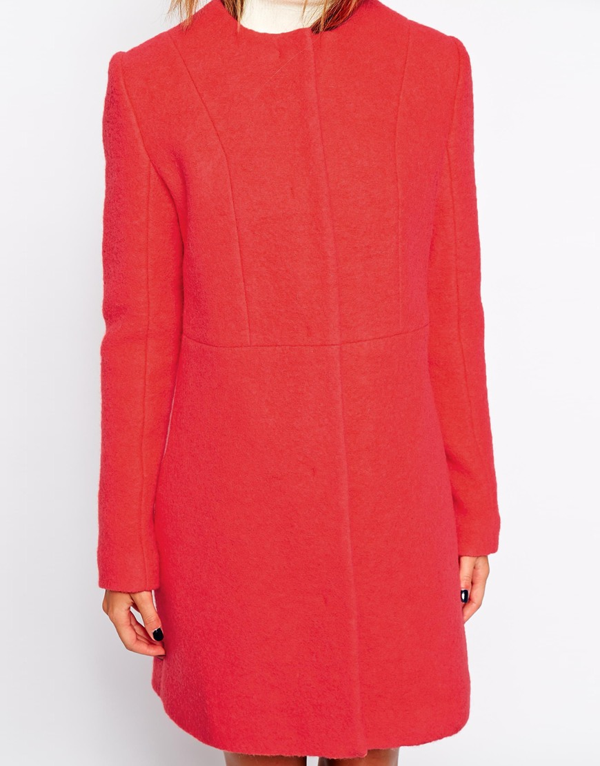 New look collarless wool coat at asos.com