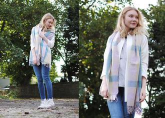 this fashion is mine blogger scarf jacket t-shirt jeans pastel converse tartan