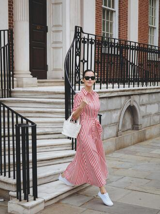 dress tumblr maxi dress long dress stripes striped dress red dress bag white bag sneakers white sneakers spring outfits sunglasses