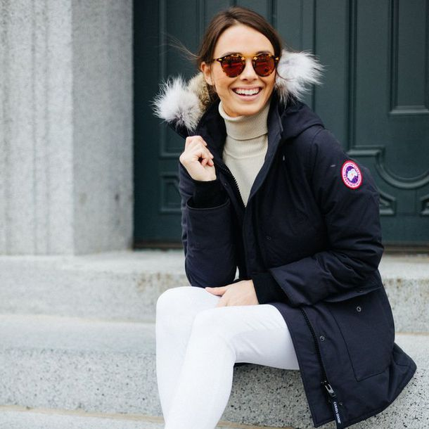 9d8d4551090 jacket canada goose blue coat winter outfits winter coat sunglasses denim  jeans white jeans turtleneck black