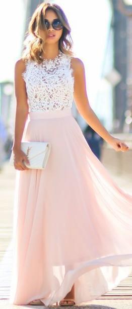 dress maxi dress tank top prom dress romantic summer dress pink ysl bag blouse frayed lace feathered white lace top white lace chiffon pink and white lace dress