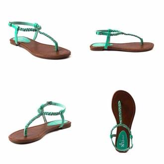 shoes sandals flat sandals brown sandals cute pretty green dark brown light green