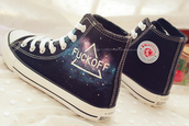 shoes,galaxy print,allstars,converse,fuck off