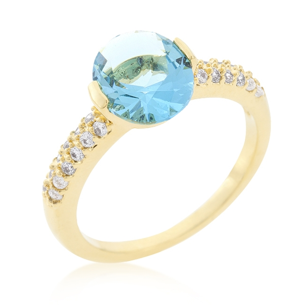 Aqua Oval Love Ring