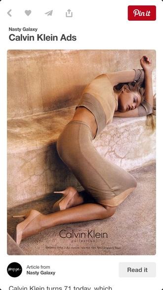 dress model calvin klein editorial beige dress two piece dress set bodycon dress natalia vodianova