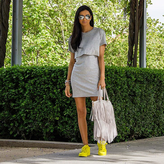 shoes yellow sneaker grey dress silver sunglasses sporty fringes fringed bag