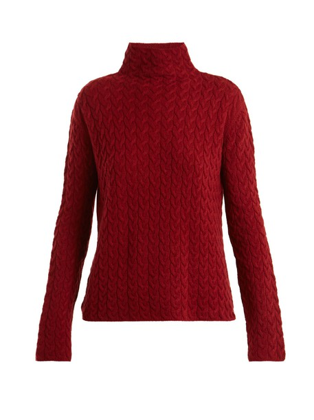 Ryan Roche sweater high knit red