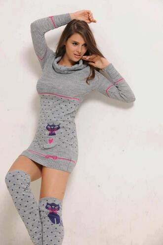dress cute dress leg warmers grey polka dots cats pink