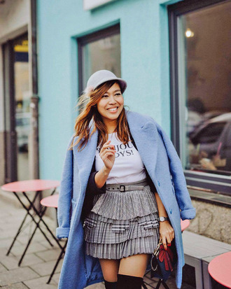hat ted baker grey hat ted baker hat skirt mini skirt pleated pleated skirt coat blue coat
