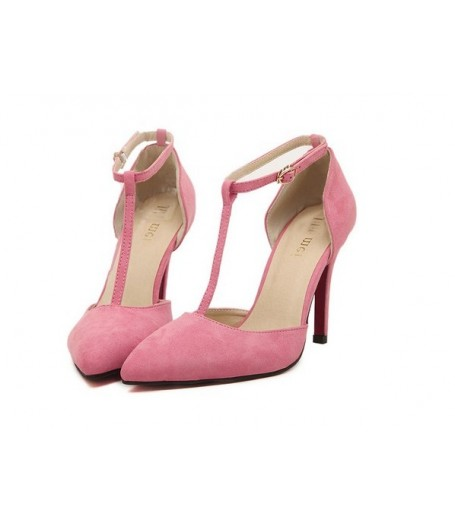 Pink Suede T-Strap Pointed Toe High Heels