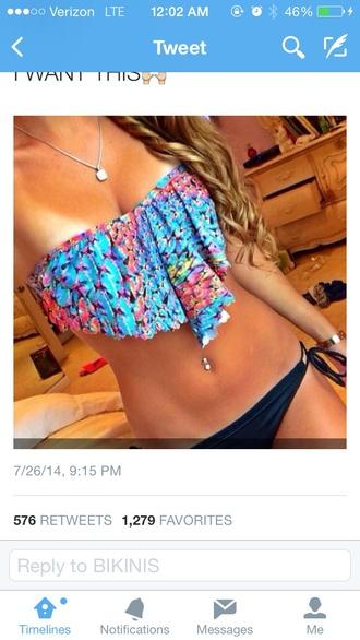 swimwear strapless bikini blue