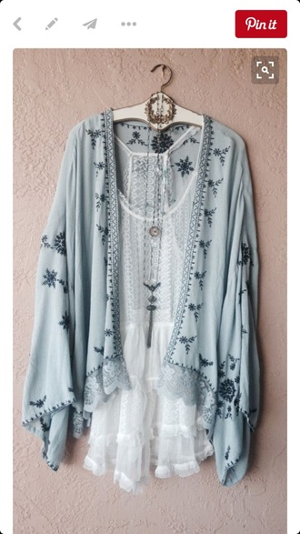 cardigan embroidered kimono blue spring