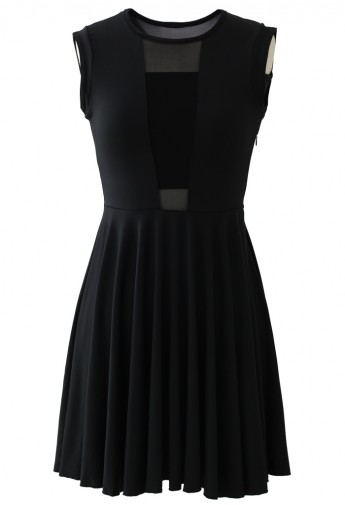 Mesh Block Pleated Party Dress in Black - Retro, Indie and Unique Fashion