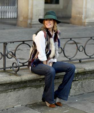 rebel attitude blogger jacket jeans hat shirt felt hat fur vest flare jeans boots