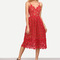 Red hollow out fit & flare lace cami dress -shein(sheinside)
