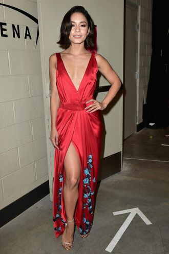 shoes sandals sandal heels red dress red vanessa hudgens wrap dress billboard music awards gown prom dress plunge dress