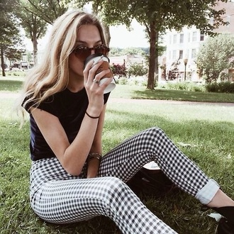 jeans black and white high waisted jeans casual