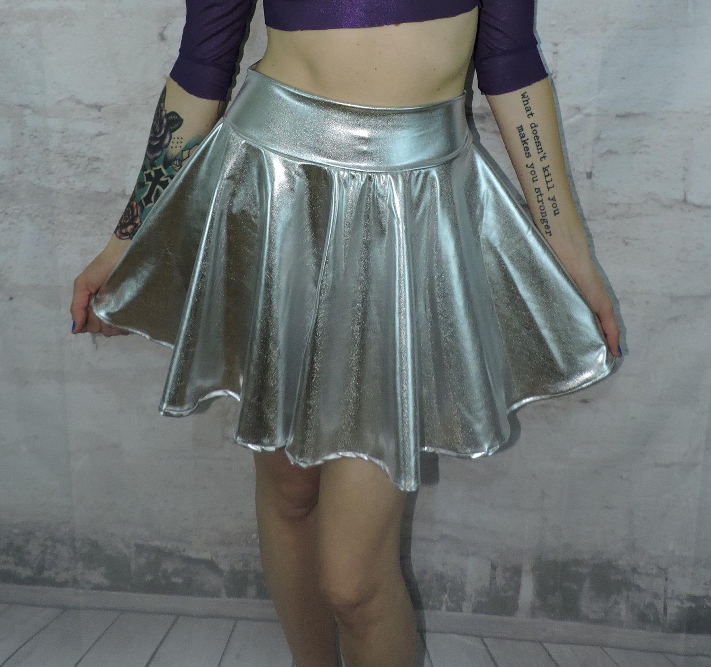 Silver metallic stretchy skater skirt