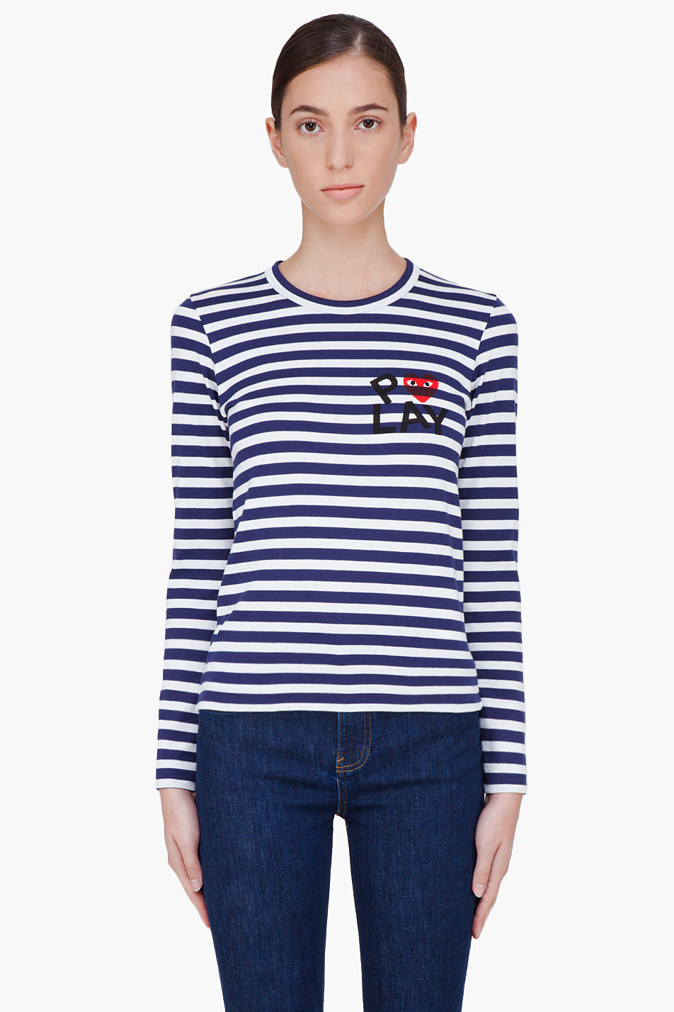 comme des garons play navy striped emblem t_shirt