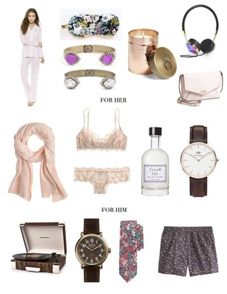 prosecco and plaid blogger pajamas bracelets valentines day gift idea candle tie lingerie set pink bra jewels bag scarf underwear