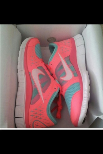 shoes coral teal athletic nike nikerunning nike free run neon coral pink and a light blue