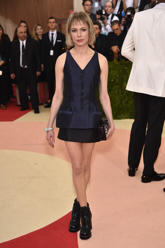 dress michelle williams mini dress boots met gala metgala2016