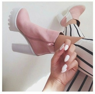shoes pink and white white and pink white pink boots booties pink boots pink shoes heels high-heels shoes high heels