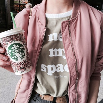 t-shirt yeah bunny space khaki bomber jacket coffee starbucks coffee ineedmyspace