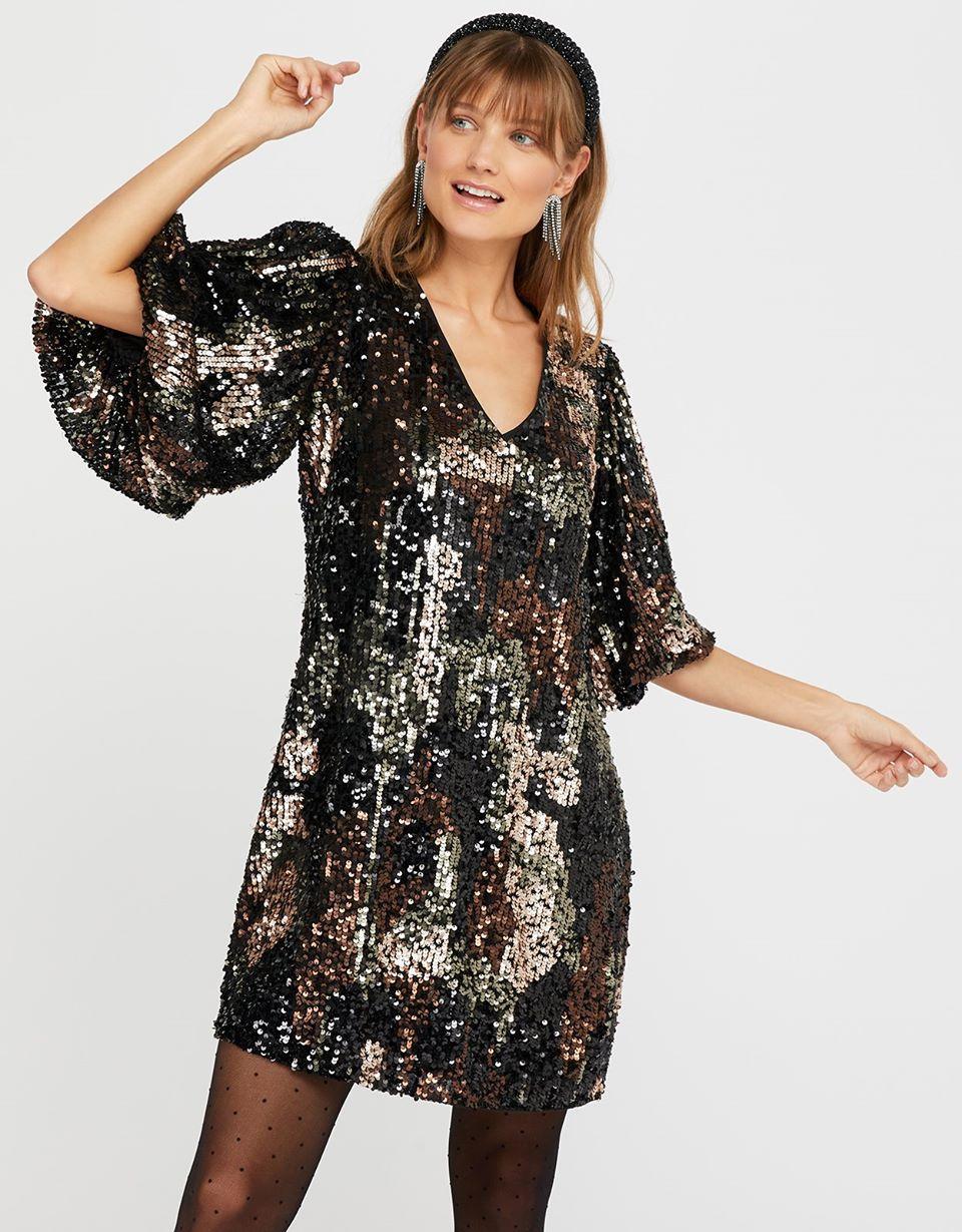 Carmen Camo Sequin Short Dress