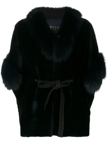 Cara Mila poncho fur fox women blue silk top