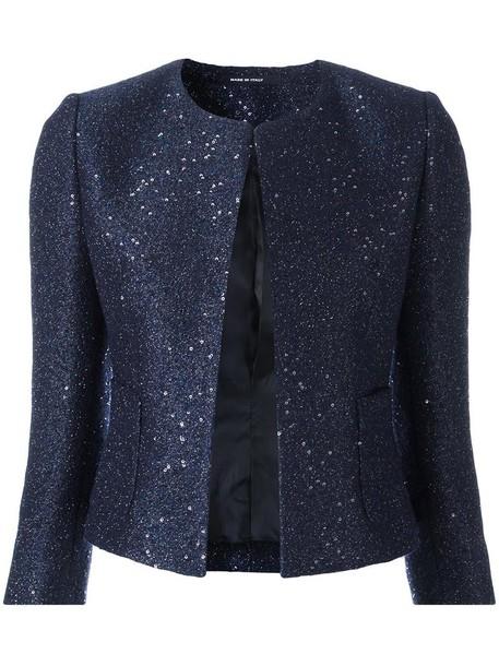 TAGLIATORE jacket cropped jacket cropped women embellished blue wool