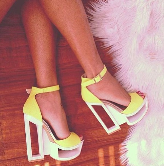 neon shoes yellow high heels