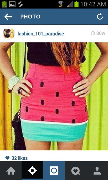skirt watermelon print fruits fruitclothes fruitskirt melon watermelonskirt watermelonclothes melonskirt tight