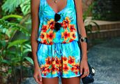 dress,jumper,mint,floral jumper,hawaiian,jumpsuit,floral,aqua blue,romper