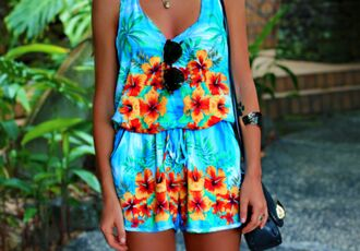 dress jumper mint floral jumper hawaiian jumpsuit floral aqua blue romper